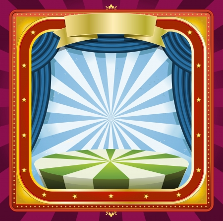 Illustration of a square holidays circus frame background poster with banners, blue curtains and gold ornaments for arts events and entertainment background Vector