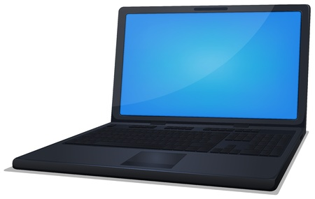 Illustration of a black laptop computer with blue screen for technology retail background Stock Vector - 17695026