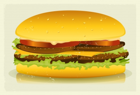 mouthwatering: Illustration of a vintage long mouth-watering burger with lettuce, beef meat, tomatoes, cheese and sausage for fast food background