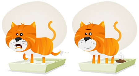 poop: Illustration of a funny redhead streaked cartoon domestic cat character meowing inside litter.