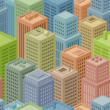 Illustrations of a seamless squared big city background with several various cartoon isometric buildings Vector