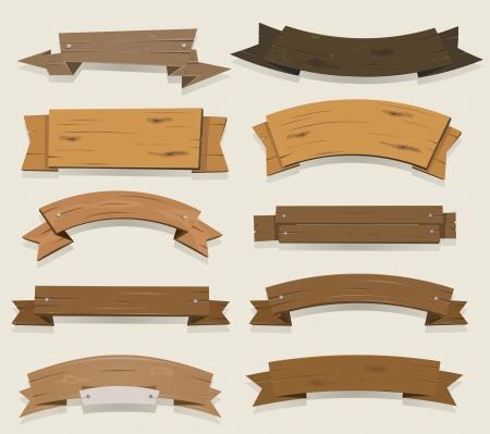 Ilustración de un conjunto de cinta de la concesión de madera de dibujos animados y banners rancho de Texas, para sellar la agricultura y la explotación y certificados Ilustración de vector