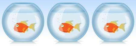 Illustration d'un ensemble de scènes drôles avec salon poissons de bande dessinée d'or dans l'aquarium d'émotions ou de situations différentes