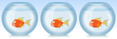 peces de colores: Ilustración de un conjunto de escenas divertidas con dibujos de peces que viven en el acuario de oro en diversas emociones o situaciones