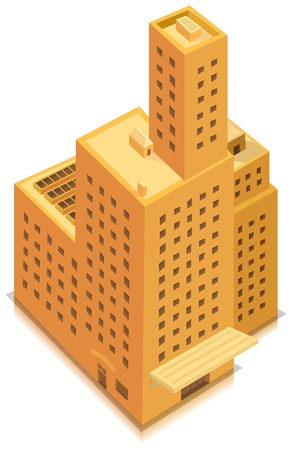 Illustration of a cartoon isometric high business office building or factory tower plenty of windows and floors Vector