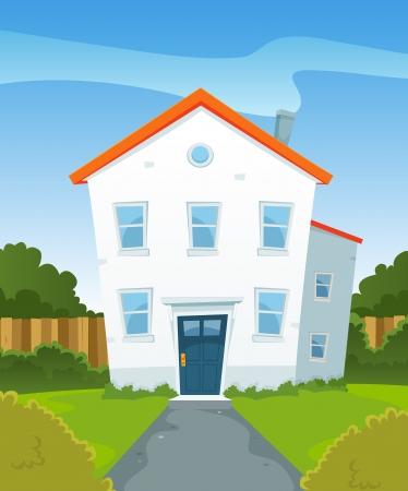house rental: Illustration of a cartoon suburban residential house property in spring or summer season, inside garden Illustration
