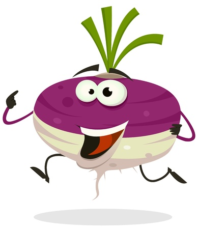rzepa: Ilustracja szczęśliwy cartoon Zabawna rzepy lub charakteru roślinnego rzodkwi działa