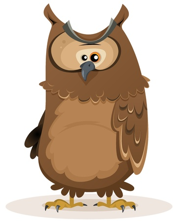 Illustration of a funny cute cartoon owl bird character standing Stock Vector - 17954974