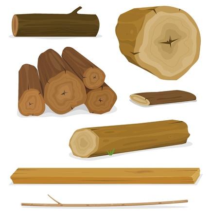 Ilustración de un conjunto de dibujos animados de madera para aserrar materiales, tablones, estantes, ramas y troncos