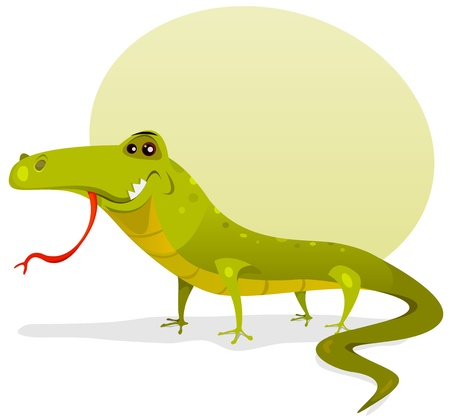 insectivorous: Illustration of a funny happy and cute cartoon green lizard character