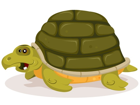Illustration of a funny happy and cute cartoon green tortoise character with home shell on her back Stock Vector - 18051321