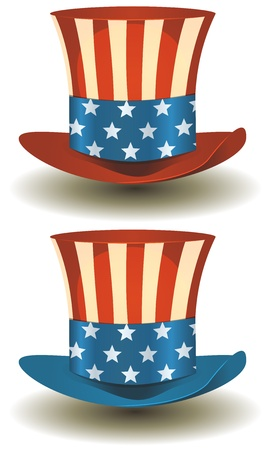 top hat cartoon: Illustration of a set of two american patriot uncle sam hat with stars and stripes