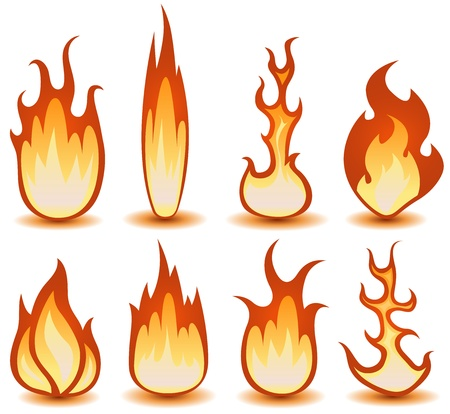 Illustration of a set of cartoon fire elements and flames shapes burning Vector