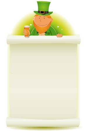 Illustration of a cartoon St-Patrick pilgrim character for the irish national holidays, holding parchment scroll Stock Vector - 18278673