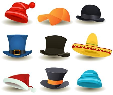 sombrero de charro: Ilustración de un conjunto de dibujos animados o superior sombreros derby, gorras de béisbol deporte de invierno, sombreros y otros equipos headwear ropa