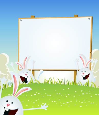 Illustration of cartoon happy cute easter rabbits jumping in the grass inside spring landscape with wood advertisement sign for march and april holidays celebration Vector
