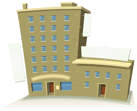 Illustration of a cartoon store or shop building tower with apartments upstairs and blank banners all around Vector
