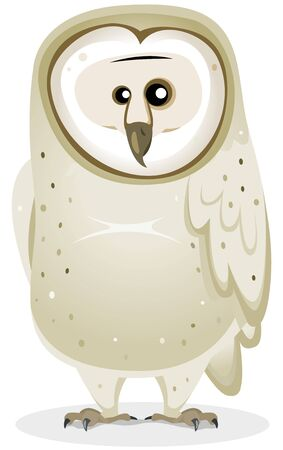 Illustration of a funny cute cartoon barn owl bird character standing Stock Vector - 18297121