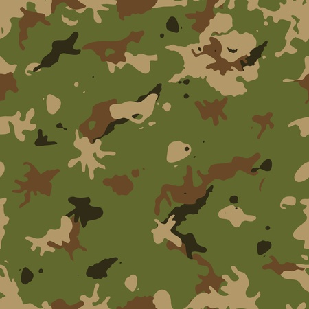 Illustration of a military camouflage with green and brown shades for army background and camo fight clothes wallpapers Vector