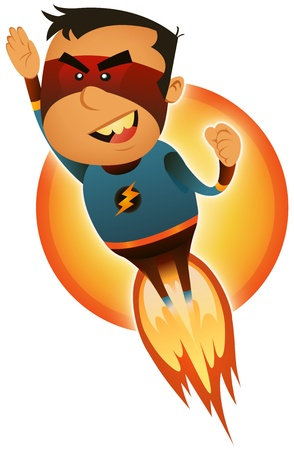 Illustration of a cartoon red and blue masked hero character blasting off and flying straight forward Vector