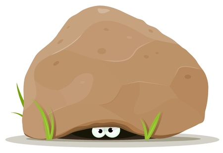 Illustration of funny cartoon creature or animal character's eyes hiding under big rock stone's hollow