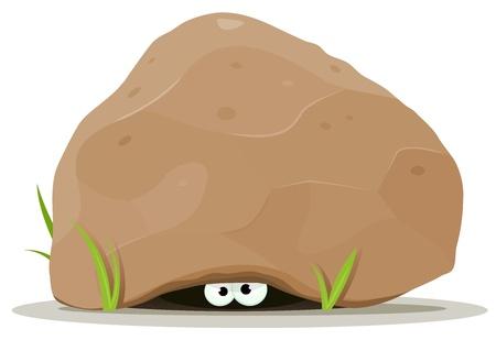 megrémült: Illusztráció vicces rajzfilm teremtmény vagy állat karakter szeme alá bújva nagy szikla kő üreges Illusztráció