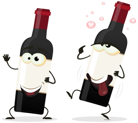 winemaker: Illustration of a couple of funny cartoon red wine alcohol bottles with a happy one and another drunk staggering