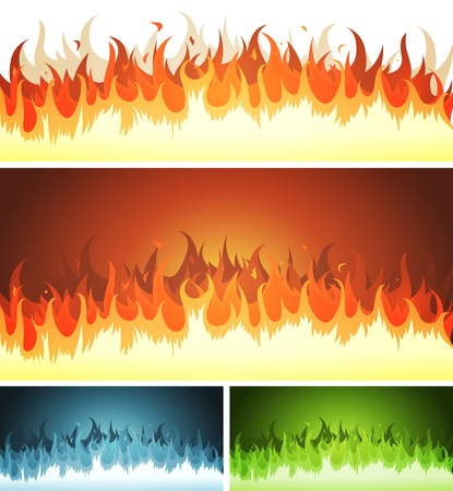 llamas de fuego: Ilustraci�n de un conjunto de elementos de dibujos animados resplandor del fuego y los patrones o formas llamas ardiendo, al infierno, fondo volc�n
