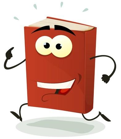 sport ecole: Illustration d'un personnage de dessin anim� livre rouge dr�le heureux et en cours d'ex�cution isol� sur fond blanc