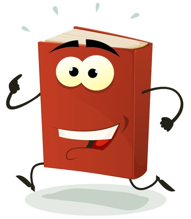 Illustration of a funny cartoon red book character happy and running isolated on white background Vector