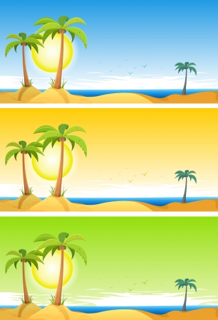 desert island: Illustration of a set of cartoon summer tropical beach ocean background with palm trees, coconuts, and cloudscape upon blue, orange or green sky Illustration