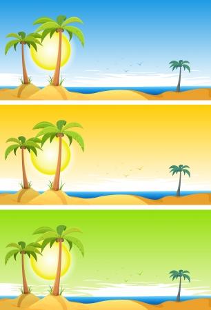 Ilustración de un conjunto de dibujos animados de verano tropical de fondo marino Playa con palmeras, cocos y cloudscape en azul, naranja o verde cielo