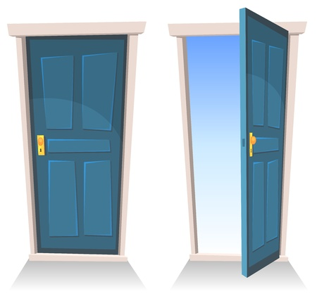 welcome door: Illustration of a set of cartoon front doors opened and closed with sky background, symbolizing death frontier, paradise or heavens gate Illustration