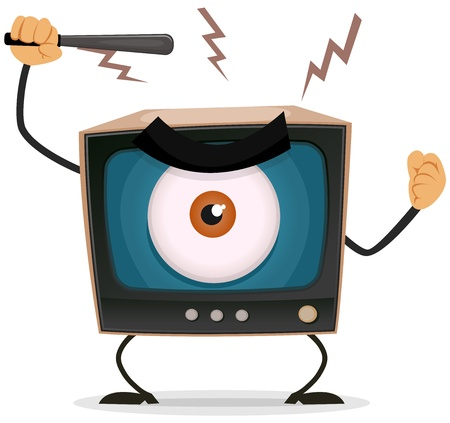 big screen tv: Illustration of a cartoon angry retro tv character with big brother eye watching and holding nightstick to hit your brain