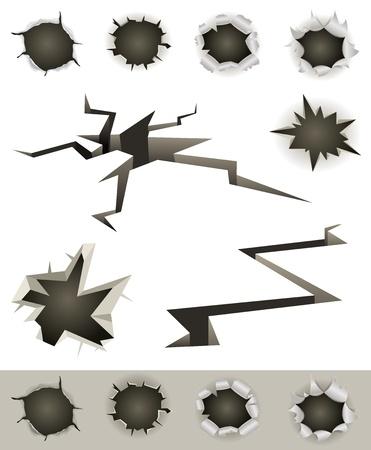 갈라진 금: 총알 구멍, 슬래시, 지진 균열 및 다양한 발사 충격 움푹 한 세트의 그림 일러스트