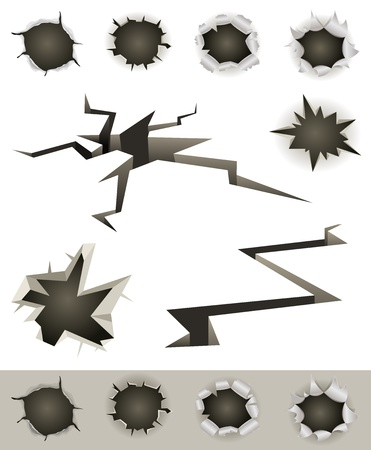 Illustration aus einer Reihe von Einschusslöchern, Schrägstriche, Erdbeben Risse und verschiedene Schussverletzungen Auswirkungen Mulden