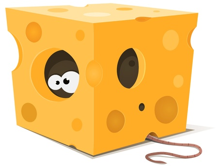 Illustration of funny cartoon mouse character's eyes eating from inside a piece of cheese with tail visible outside Vector