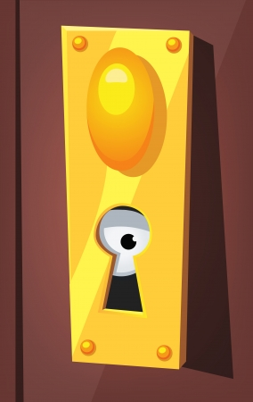 confined: Illustration of a funny cartoon eye staring and spying from behind door lock keyhole