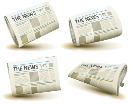 press news: Illustration of a set of cartoon daily or weekly printed newspaper publication icons