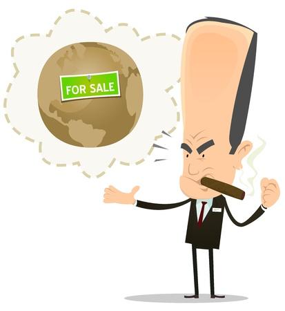 madre tierra: Ilustraci�n de una caricatura loco y enojado parcela grande banquero de negocios ladr�n ladr�n que desee de la venta de la madre tierra