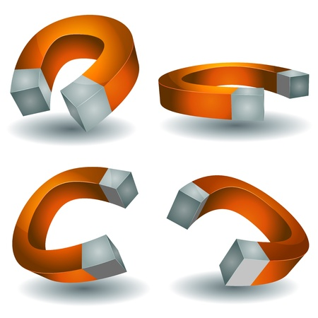 polarity: Illustration of a set of cartoon horseshoe magnet, symbolizing power, force field and polarity, isolated on white background Illustration