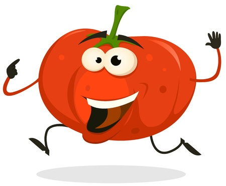 tomato cartoon: Illustration of a funny happy and healthy cartoon tomato vegetable character running