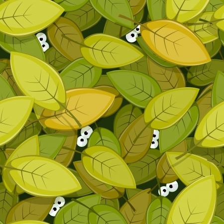 Illustration d'un vert transparent laisse le fond avec bande dessinée drôle des créatures les yeux des animaux regarder la nature papier peint forêt Vecteurs