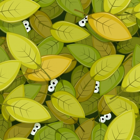 forest cartoon: Illustration of a seamless green leaves background with funny cartoon creatures animal eyes staring for nature forest wallpaper Illustration