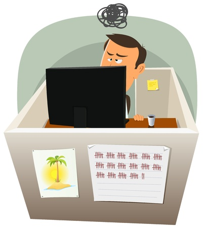Illustration of a cartoon office employee man lifestyle, working frustrated in a boring job in slump time and inside small confined open space cube setting Vector