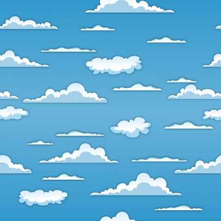 Illustration of a seamless spring or summer cartoon cloudscape on a blue sky background for abstract wallpaper Vector