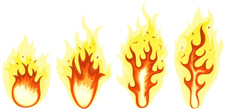 Illustration of a set of abstract cartoon blaze fire symbols elements and burning shapes of flames Vector