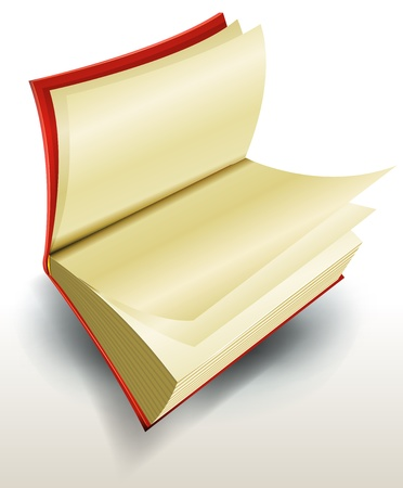 Illustration of a design open red book with blank pages for your library school or education ad content