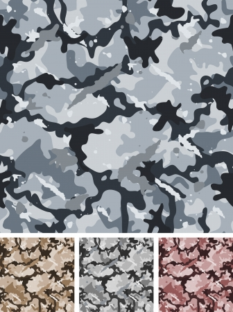 gray clothing: Illustration of a set of complex abstract military camouflage for night with shades for army background and nocturnal camo fight clothes wallpapers