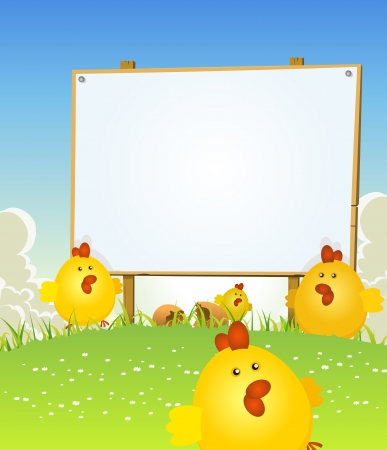 april flowers: Illustration of cartoon happy cute march and april easter chicken jumping in the grass on a spring landscape background with wooden blank sign for your holidays message